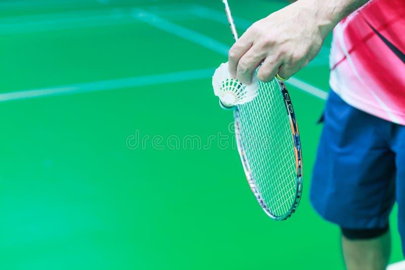 La main masculine de joueur simple de badminton tient le coq blanc de navette ainsi que la raquette, position prête à servir sur  image libre de droits