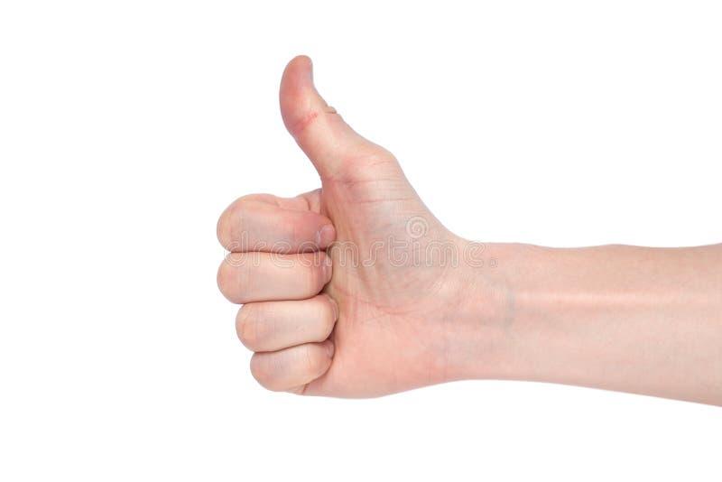 La main masculine sur un fond blanc montre comme Copiez l'espace photographie stock libre de droits