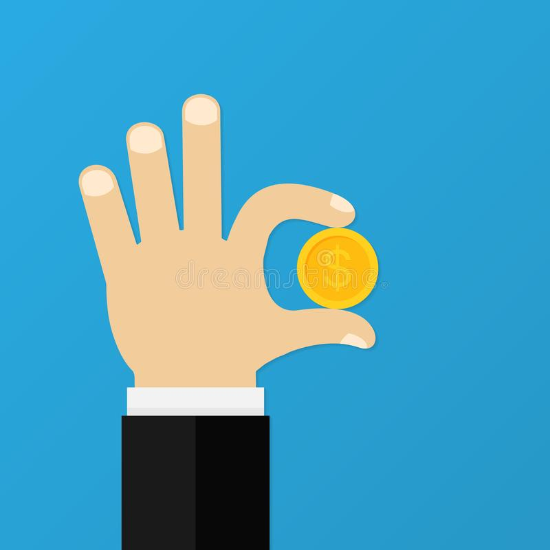 La main masculine tient la pièce de monnaie d'or Concept d'affaires des investissements et de l'épargne personnels illustration stock