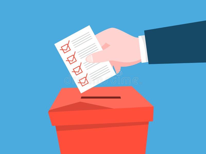La main a mis le papier avec un signe dans une urne  Élection politique illustration stock