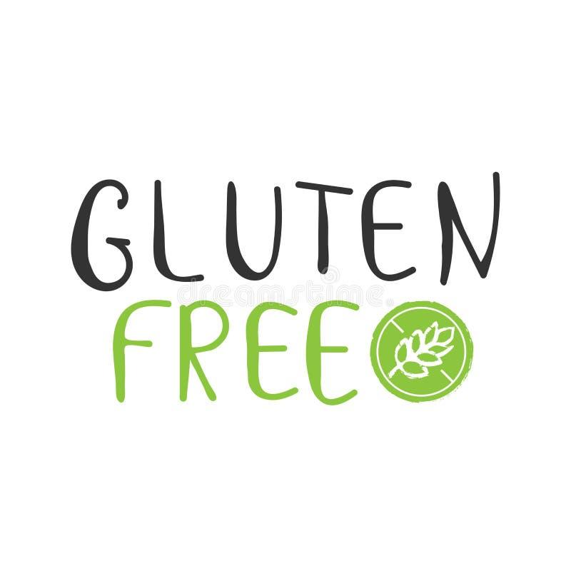 La main organique de nature de nourriture libre de produit de gluten écrite le lettrage, silhouette l'épillet dans le logo de cer illustration stock