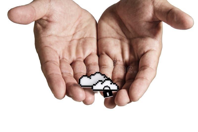 La main ouverte retient le signe de réseau de nuage de Pixel illustration libre de droits