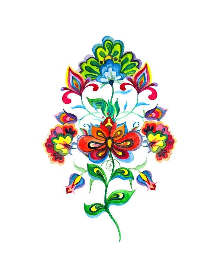 La main a ouvré des fleurs de l'Europe de l'Est Bouquet d'aquarelle - motif pour la broderie illustration libre de droits