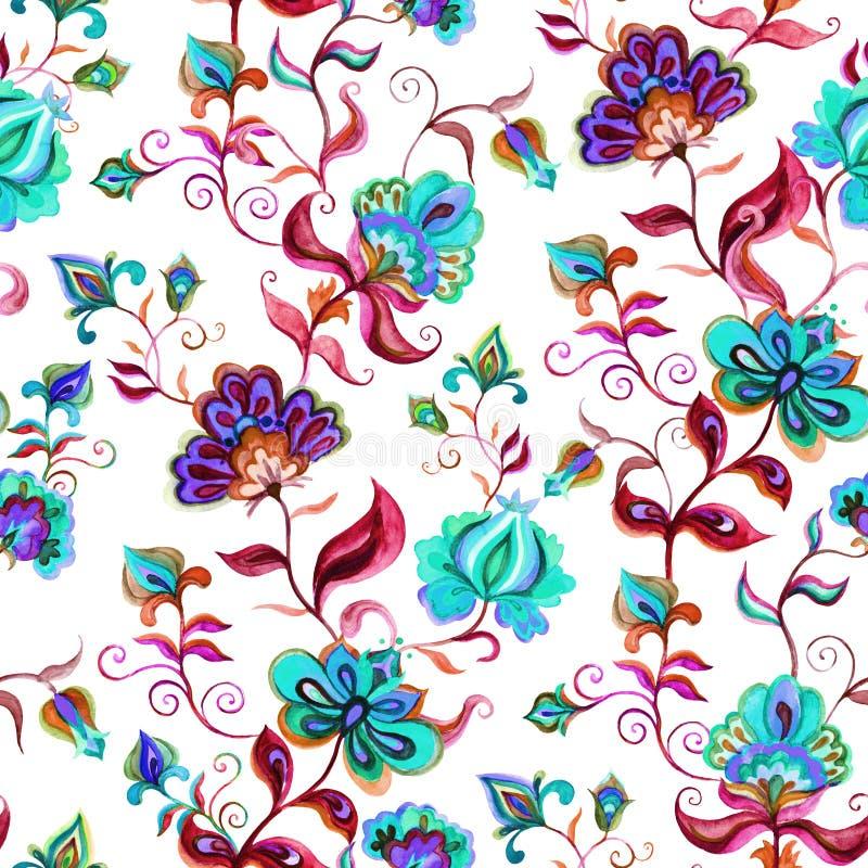 La main a ouvré des motifs indigènes à la terre légère - fond floral sans couture avec les fleurs complexes Art d'aquarelle illustration stock