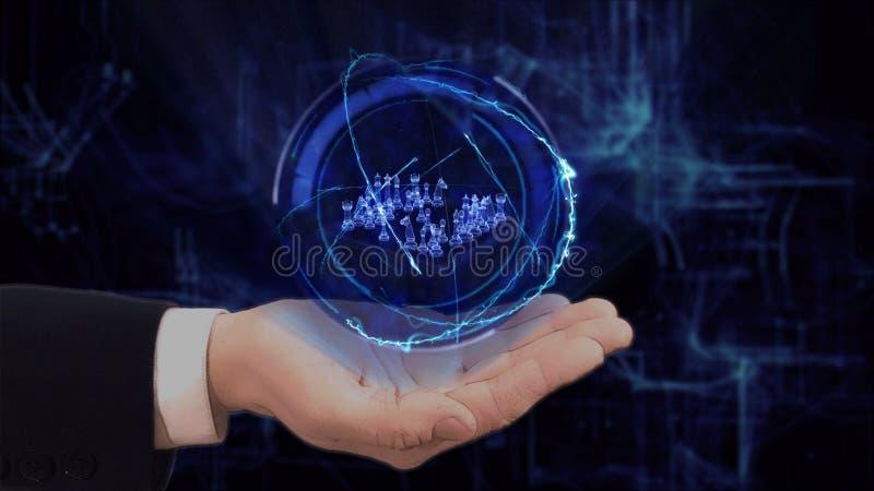 La main peinte montre des ?checs de l'hologramme 3d de concept sur sa main photo stock