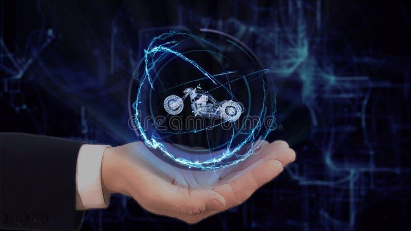 La main peinte montre le moto de l'hologramme 3d de concept sur sa main images libres de droits