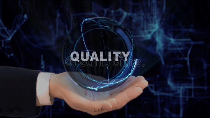 La main peinte montre la qualité d'hologramme de concept sur sa main image stock