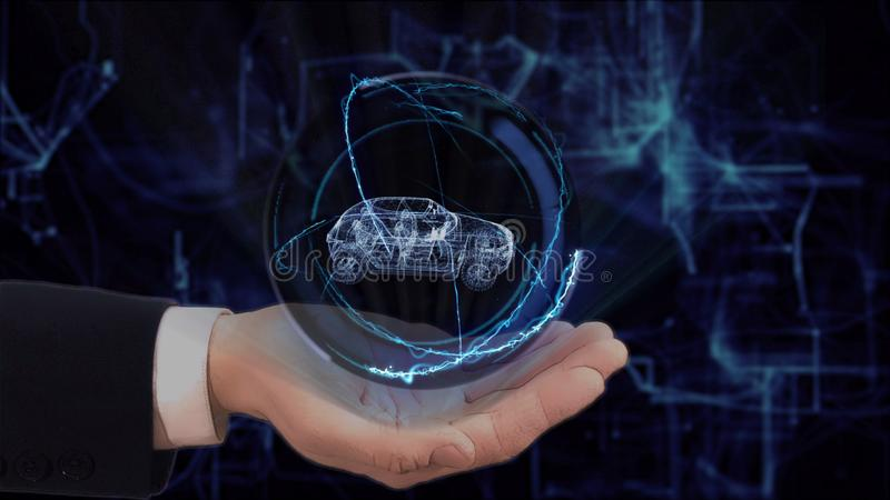 La main peinte montre la voiture familiale de l'hologramme 3d de concept sur sa main photos stock