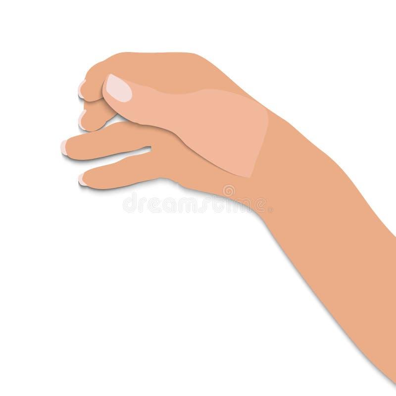 La main plate de l'homme tient le verre présumé de la boisson alcoolisée sur le fond blanc Illustration de vecteur illustration de vecteur