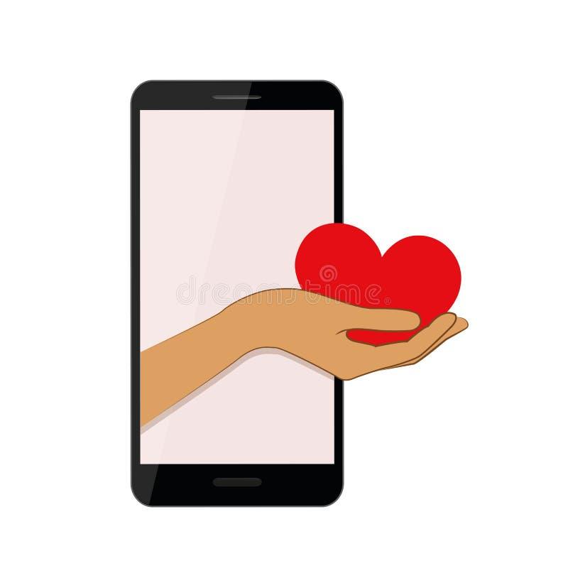 La main présente le coeur rouge d'un smartphone illustration stock