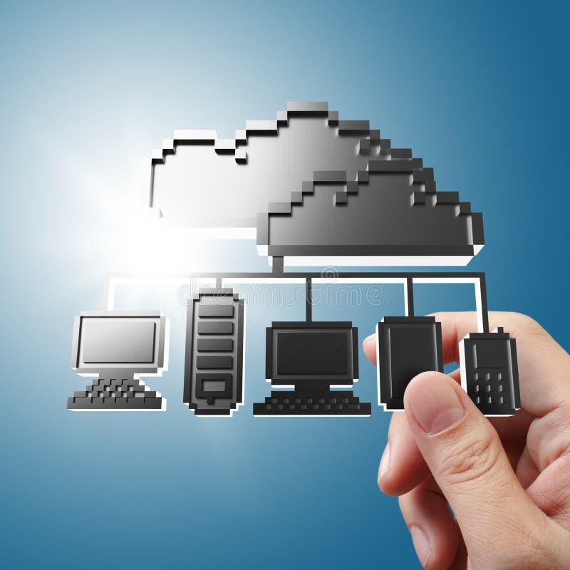 La main retient le signe de graphisme de réseau de nuage de Pixel illustration de vecteur
