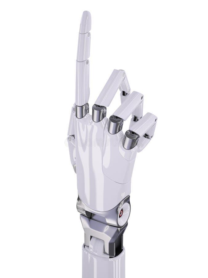 La main robotique blanche se dirigeant ou numéro une illustration 3d faisante des gestes illustration libre de droits