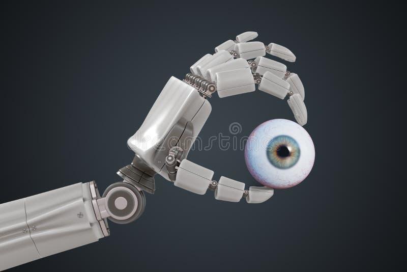 La main robotique tient le globe oculaire humain 3D a rendu l'illustration illustration libre de droits