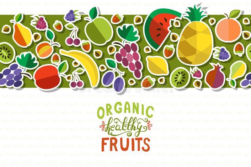 La main saine organique a esquissé la bannière de fruit frais illustration stock