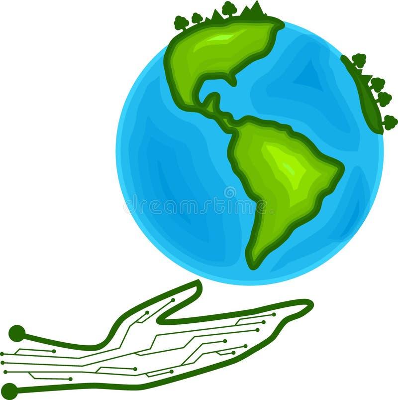 La main sauvent l'environnement de la vie d'écologie de l'eau d'arbre d'usine de la terre du monde par la connaissance de technol illustration de vecteur
