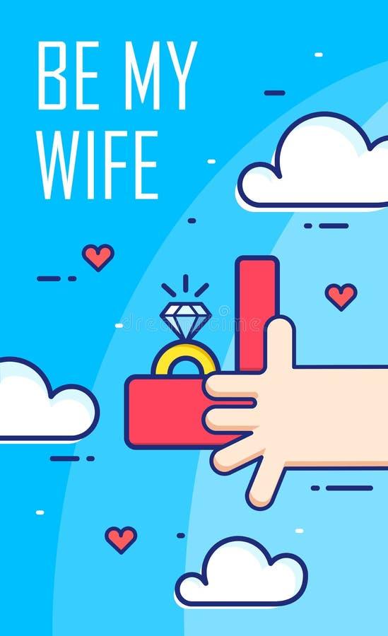 La main tient la boîte avec une bague de fiançailles Ligne mince bannière plate de conception Carte de vecteur illustration libre de droits