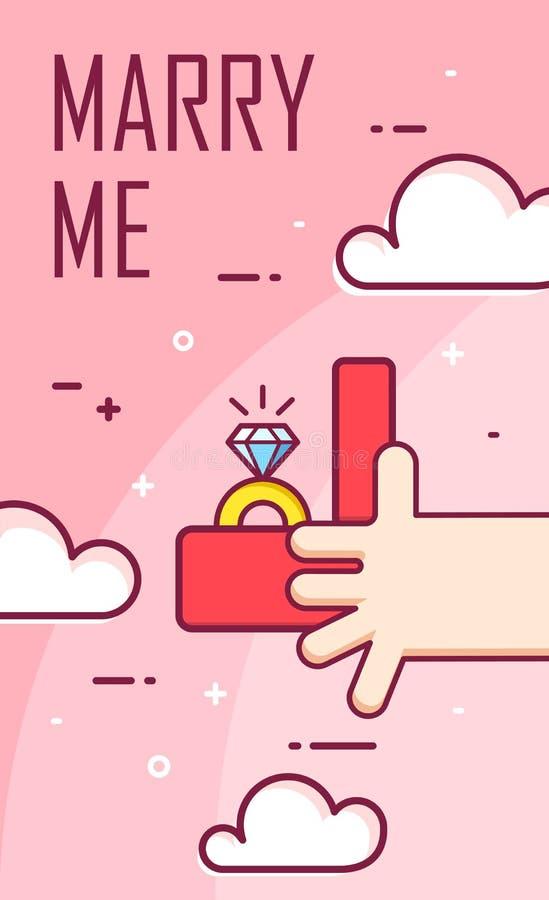 La main tient la boîte avec une bague de fiançailles Mariage de proposition Ligne mince bannière plate de conception Vecteur illustration libre de droits