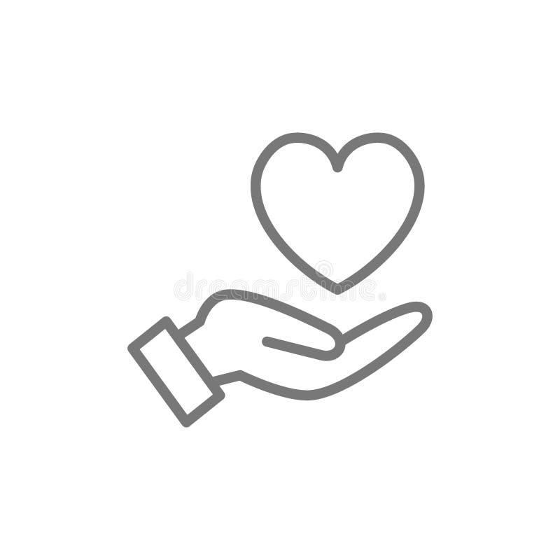 La main tient le coeur, soin, charit? de gentillesse, ligne ic?ne de donation illustration libre de droits