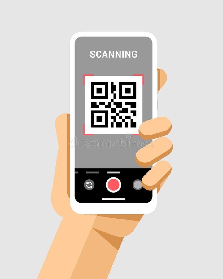 La main tient le smartphone avec l'application de code de qr in camera Illustration moderne de maquette de téléphone de vecteur p illustration libre de droits