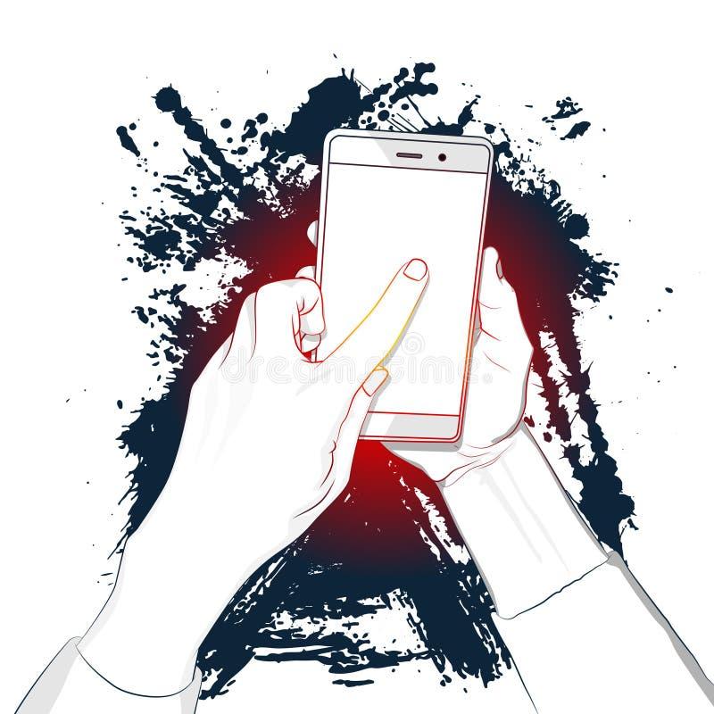 La main tient le téléphone intelligent avec l'écran blanc et un doigt touche l'affichage illustration stock