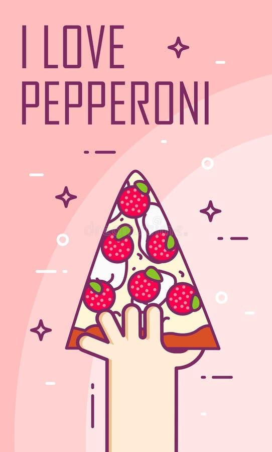 La main tient un morceau de pizza de pepperoni Bannière de vecteur pour les aliments de préparation rapide Ligne mince carte plat illustration stock