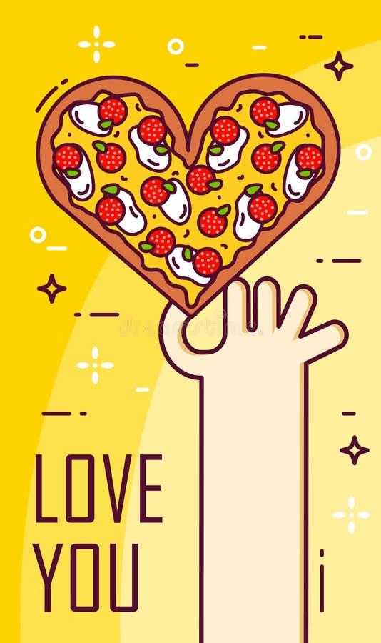 La main tient une pizza sous forme de coeur Bannière de vecteur pour les aliments de préparation rapide Ligne mince conception pl illustration stock