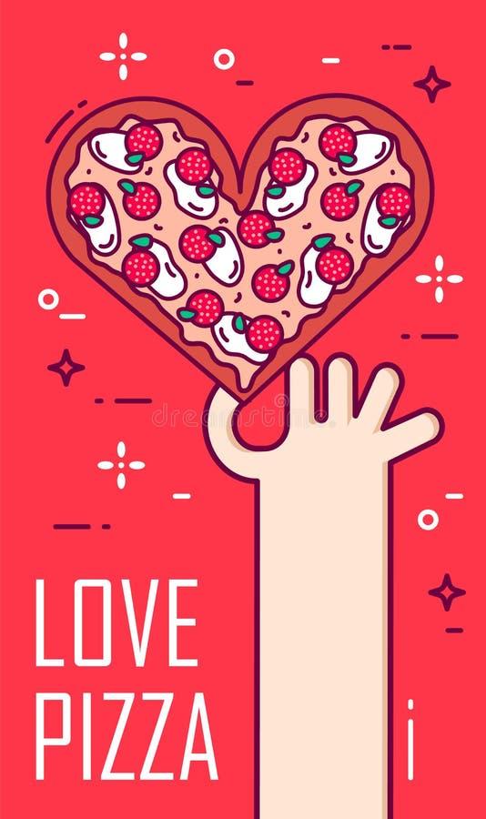 La main tient une pizza sous forme de coeur sur le fond rouge Bannière de vecteur pour les aliments de préparation rapide Ligne m illustration stock