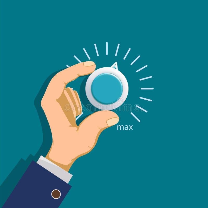 La main tourne le thermostat illustration de vecteur