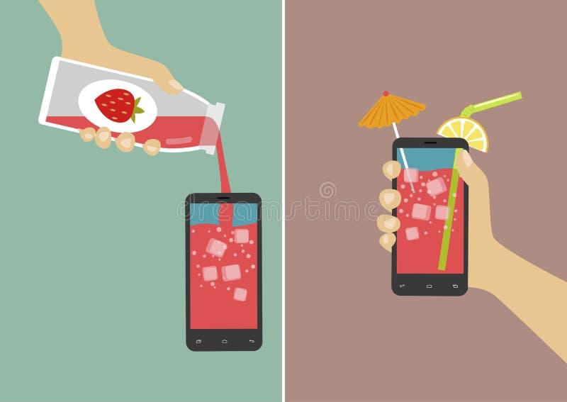 La main verse le jus dans le smartphone et le tenir avec les glaçons, le parapluie et le bâton Illustration plate de vecteur illustration libre de droits