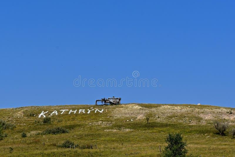 La Maine di trebbiatura sopra una collina in KATHRYN fotografie stock
