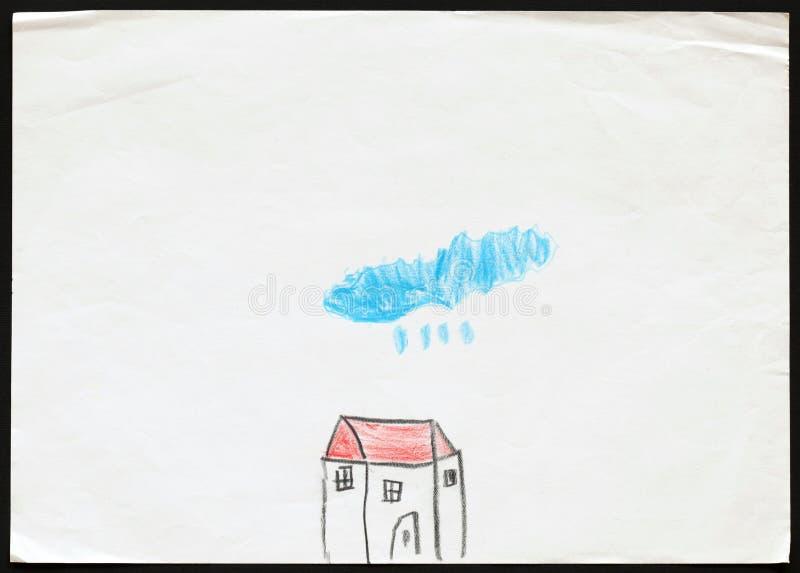 La Maison Blanche sous le nuage bleu pleuvant Le retrait de l'enfant illustration libre de droits