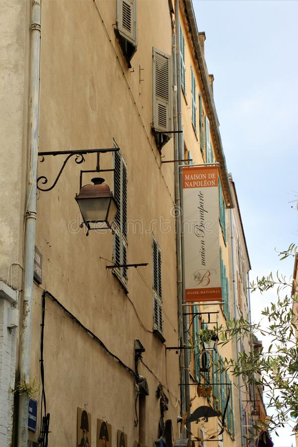 Maison Bonaparte, Ajaccio, France. La Maison Bonaparte in Ajaccio, the capital of Corsica, a French island on the Mediterranean Sea. The house is the ancestral stock photo