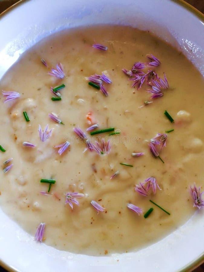 La maison délicieuse a fait cuire la crème chaude de la soupe à poireau de pomme de terre avec la ciboulette image stock