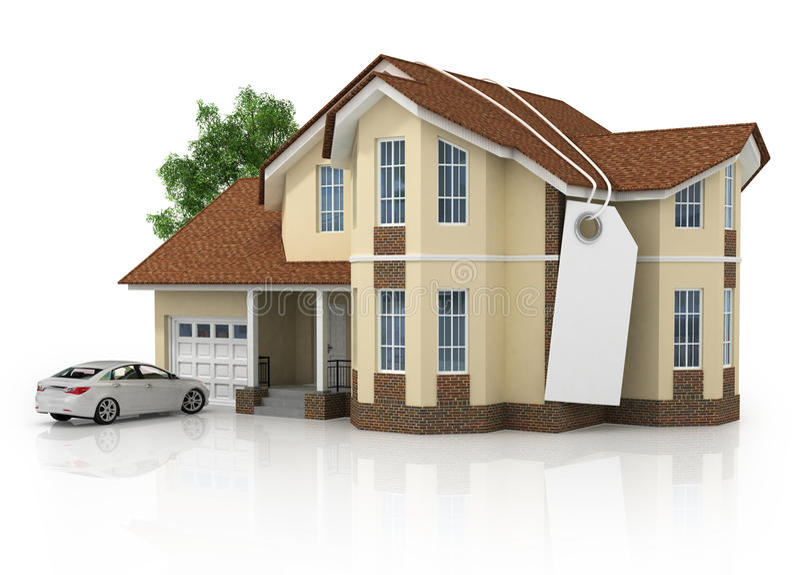 la maison 3d d'isolement sur le blanc a rendu générique illustration libre de droits