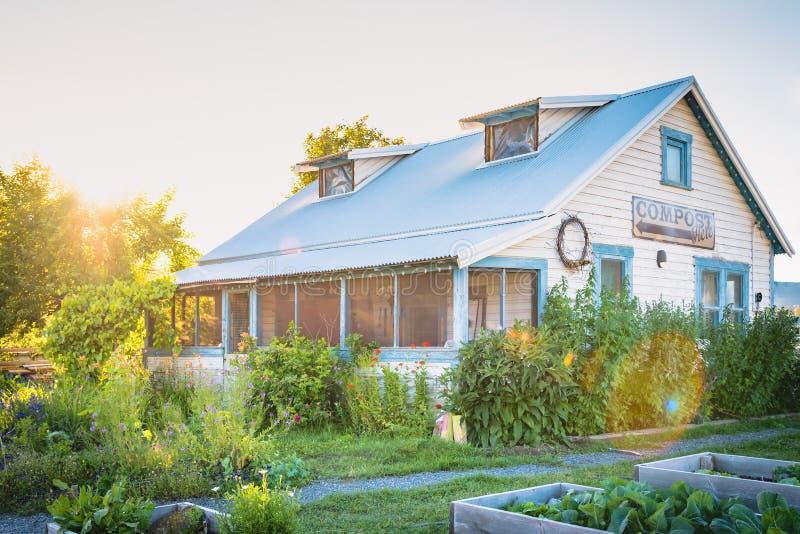 La maison d'héritage entourée par la floraison fait du jardinage au coucher du soleil photo libre de droits