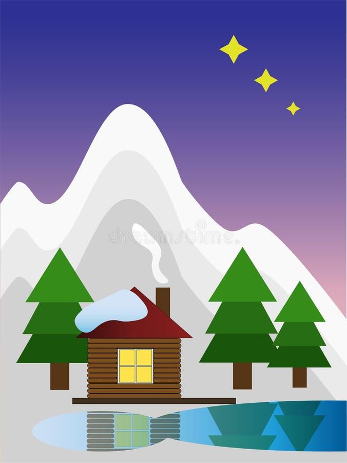 La maison d'hiver en montagne illustration libre de droits