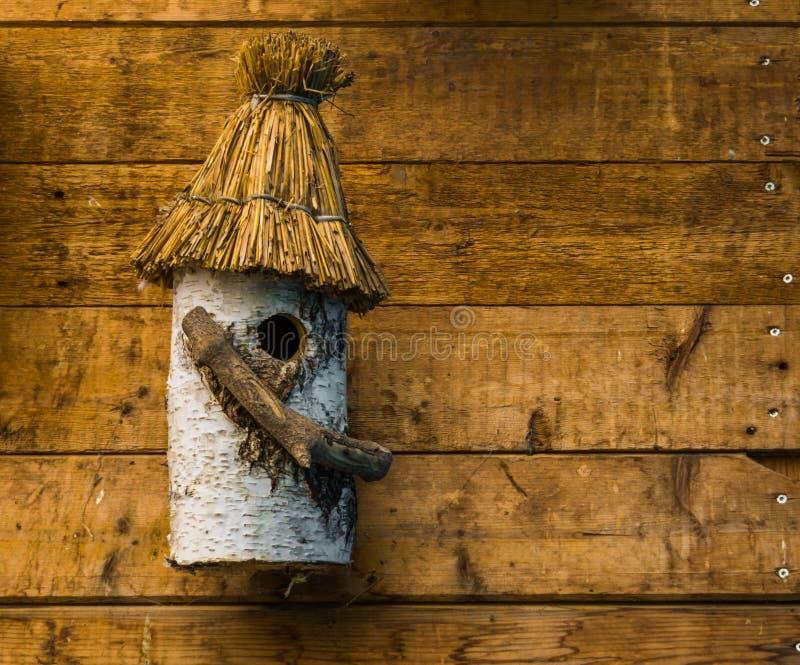 La maison d'oiseau ouvr?e par main a fait hors d'un rondin d'arbre de bouleau, maison d'oiseau accrochant sur un mur des planches image stock