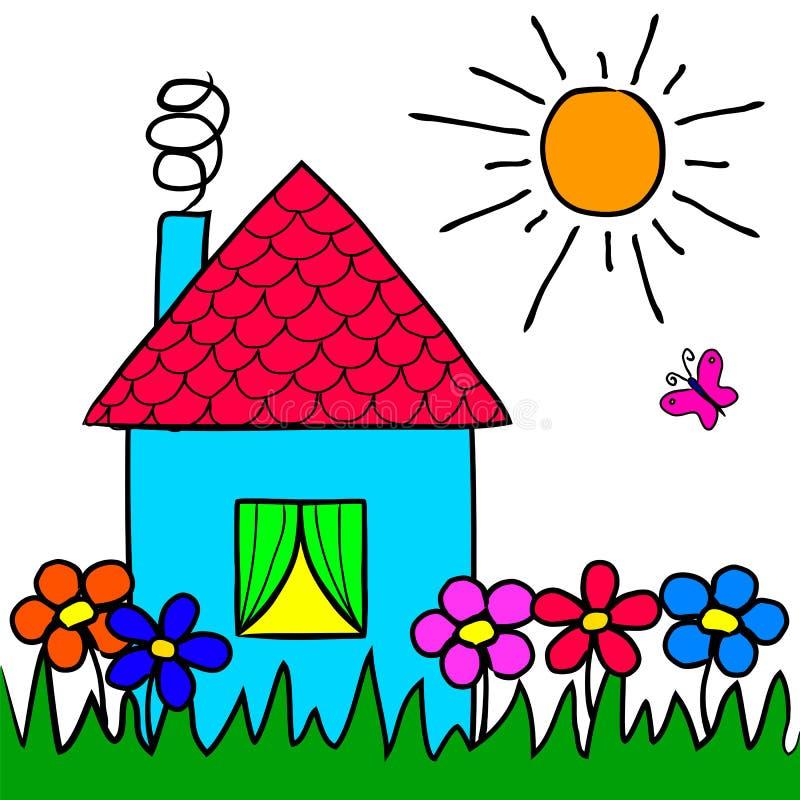 La maison de dessin du ` s d'enfants, fleurs, herbe, le soleil illustration stock