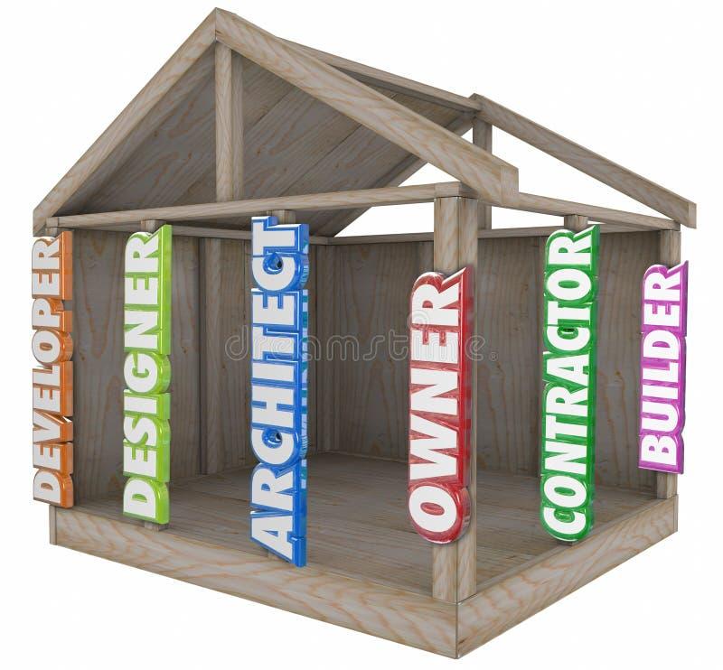 La maison de Developer Designer House de constructeur d'architecte rayonne le cadre illustration de vecteur