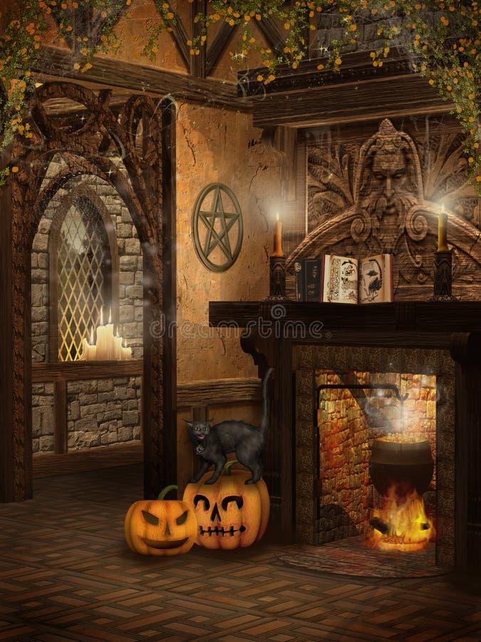 La maison de la sorcière avec des potirons illustration de vecteur