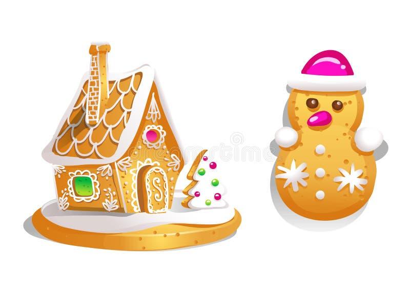 La maison de pain d'épice a décoré le glaçage et le bonhomme de neige de sucrerie Biscuits de Noël, nourriture douce cuite au fou illustration libre de droits