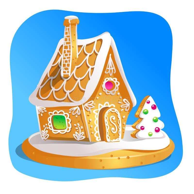 La maison de pain d'épice a décoré le glaçage et le sucre de sucrerie Biscuits de Noël, nourriture douce cuite au four faite mais illustration libre de droits