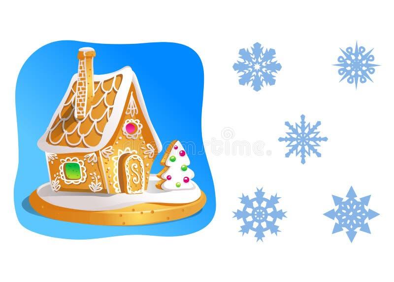 La maison de pain d'épice a décoré le glaçage de sucrerie et un ensemble de flocons de neige d'isolement sur le blanc Illustratio illustration de vecteur