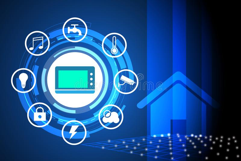 La maison de Smart a commandé l'utilisation de concept de réseau de service collectif pour le fond illustration stock