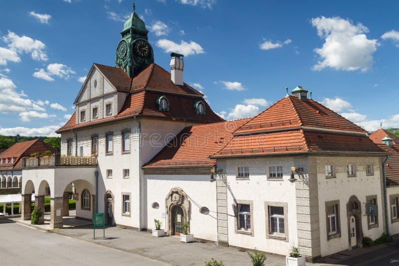La maison de station thermale d'Art nouveau de mauvais Nauheim images stock
