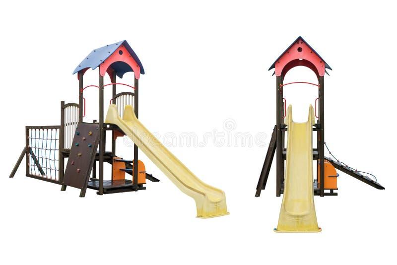 La maison des enfants avec la glissière d'isolement sur le fond blanc photographie stock