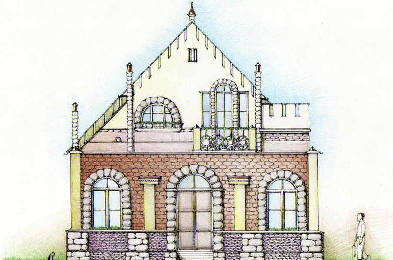 La maison, dessinant photos libres de droits