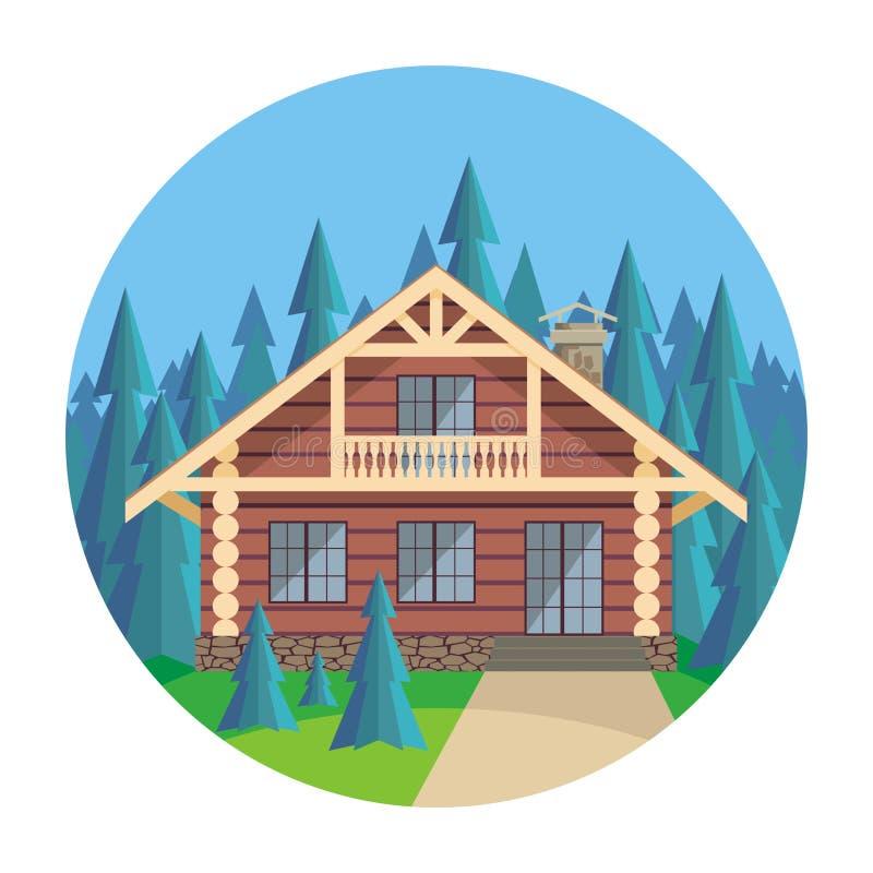 La maison en bois illustration de vecteur