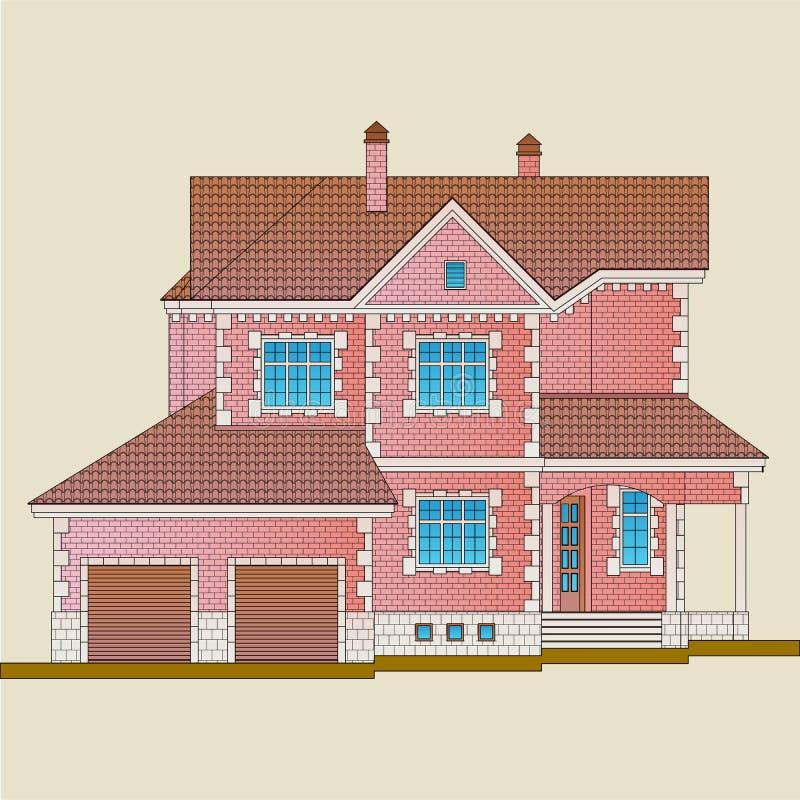 La maison est construite des détails de brique rouge et de décoration avec la pierre blanche illustration libre de droits