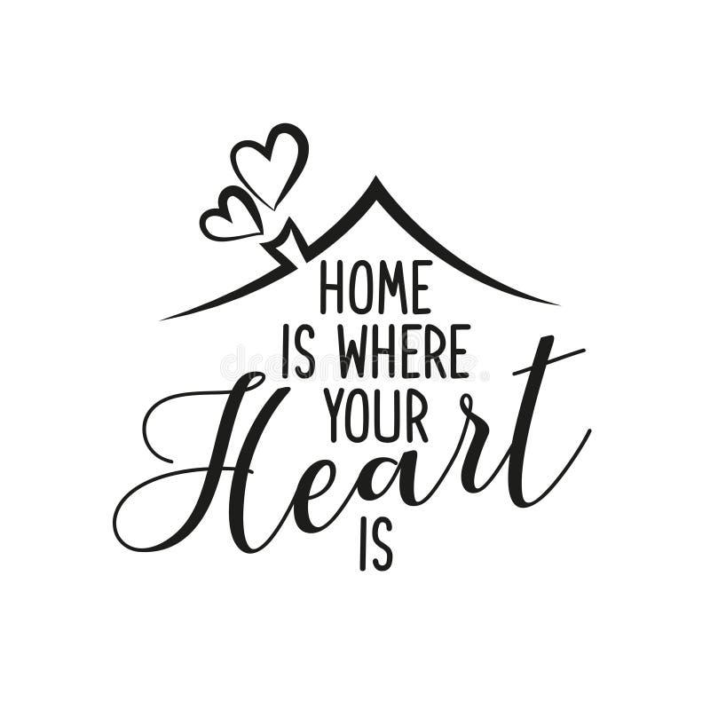 La maison est où votre coeur est illustration stock